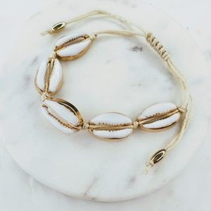 Jewelry - 5 for $25 Gold and White Sea Shell Bracelet